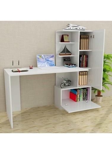 Dekorister Merinos Kitaplıklı Çalışma Masası Beyaz Renkli